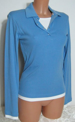 Polo shirt korenblauw-wit