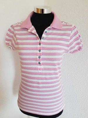 Poloshirt von Sisley Größe S rosa weiss