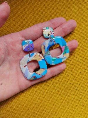 selfmade Boucle d'oreille incrustée de pierres violet-bleu clair