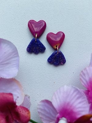 Handmade Statement Earrings dark violet-violet