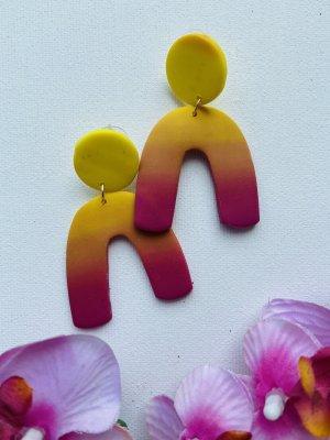 Handmade Boucle d'oreille incrustée de pierres jaune primevère-violet