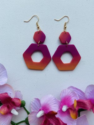 Handmade Statement Earrings violet-orange