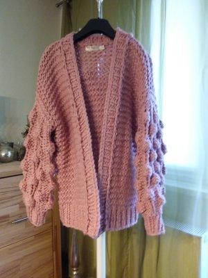 Cardigan a maglia grossa rosa antico