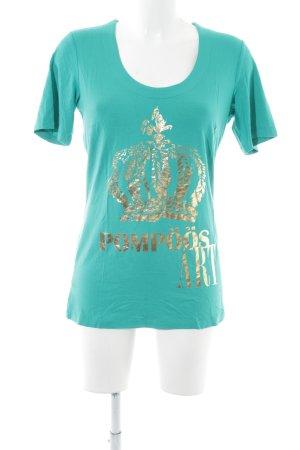 Pompöös by Harald Glöckler Print-Shirt türkis-goldfarben Motivdruck