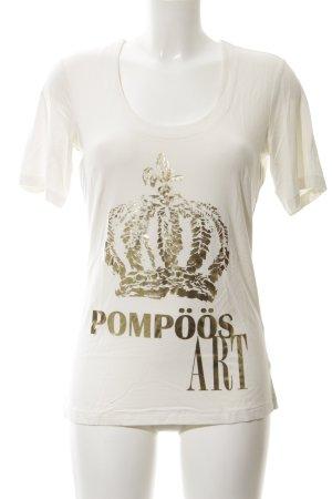 Pompöös by Harald Glöckler Print-Shirt weiß-goldfarben Schriftzug gedruckt