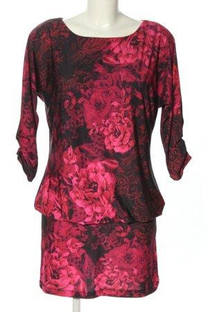 Pompöös Jerseykleid schwarz-pink Allover-Druck Casual-Look