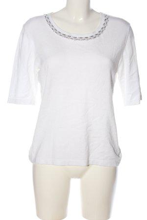 Pompöös Langarm-Bluse weiß-silberfarben Casual-Look