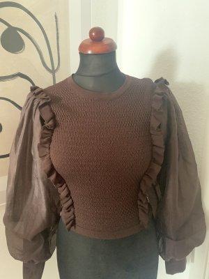 pompöser Pullover von Zara Strick und Chiffon Neu braun