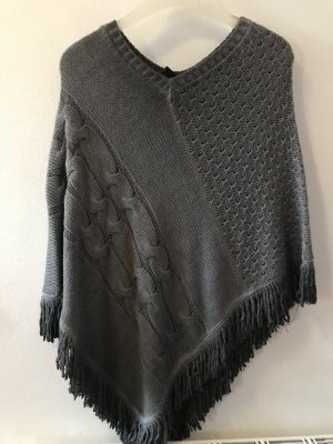 Key Largo Knitted Poncho dark grey-grey