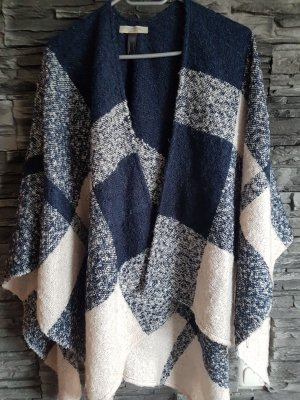 Comma Knitted Poncho pink-dark blue