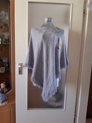 Knitted Poncho silver-colored cashmere