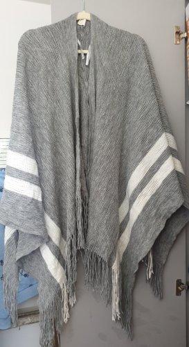 Poncho blanc-gris clair