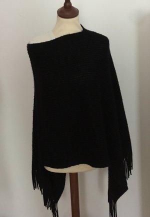 Poncho en tricot noir
