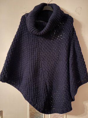 Knitted Poncho dark blue