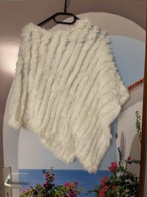 Sweter bez rękawów z cienkiej dzianiny biały