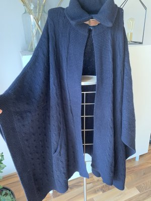Polo Ralph Lauren Knitted Poncho dark blue wool