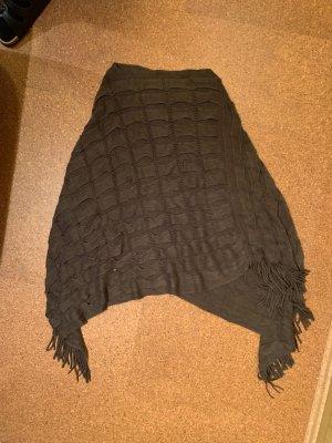 Knitted Poncho dark brown cotton