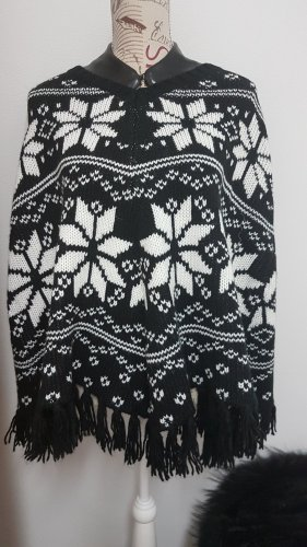 Poncho blanco-negro