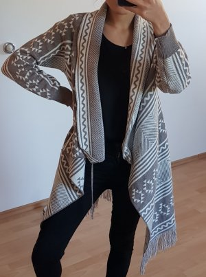 Poncho grey brown-cream