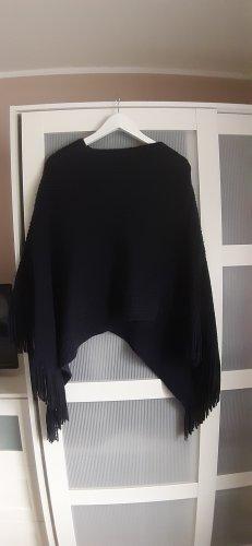 Colloseum Poncho en tricot bleu foncé