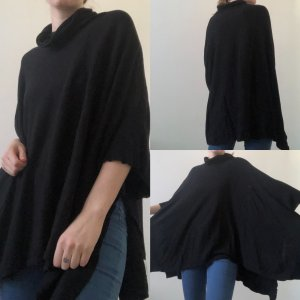 Blue Motion Knitted Poncho black cotton