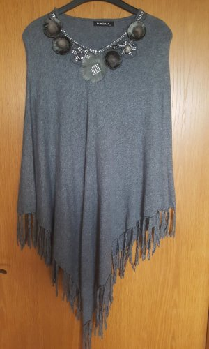 e-woman Knitted Poncho light grey-black brown