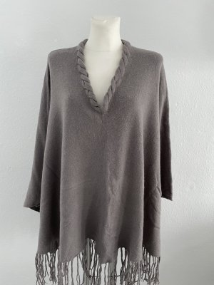 Backstage Knitted Poncho grey brown