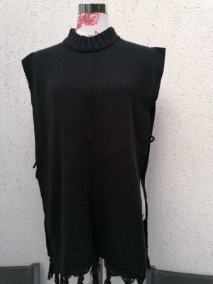 H. S. L. P. High Style Poncho en tricot noir