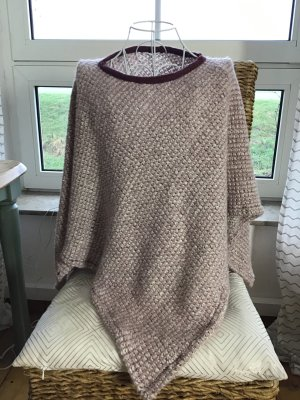 Knitted Poncho dusky pink-brown red mixture fibre