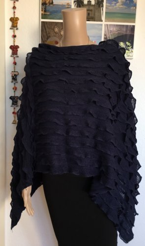 Pieces Poncho donkerblauw