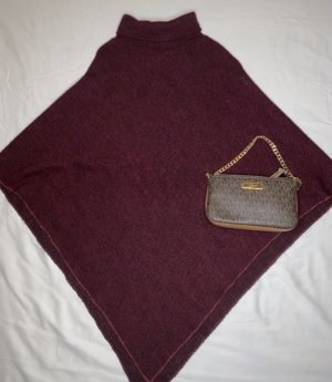 Knitted Poncho purple-bordeaux