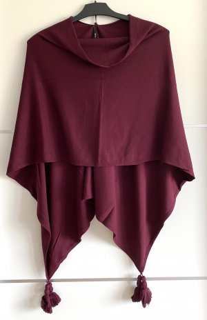Poncho in weinrot
