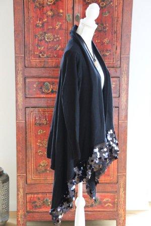 Poncho mit Ärmeln in schwarz - mit Pailetten