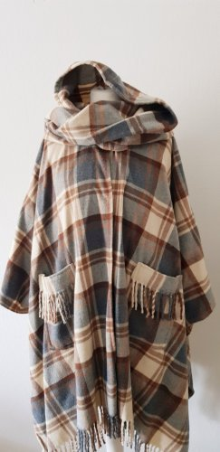Poncho color plata-camel