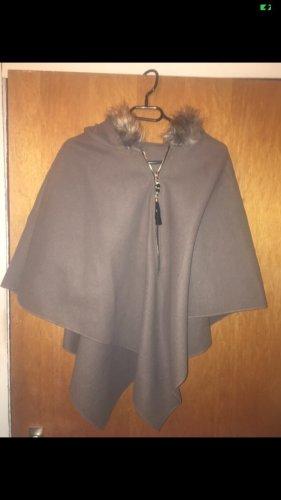Rain Poncho grey-light brown polyester