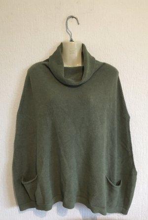keine Poncho in maglia grigio-verde