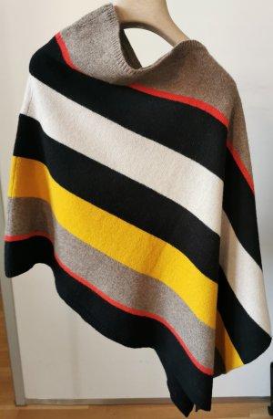 solar Poncho en tricot multicolore laine