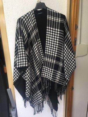 More & More Poncho en tricot noir-blanc