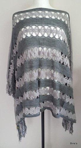 keine Poncho de punto color plata-blanco puro tejido mezclado