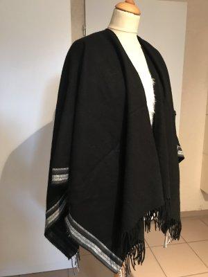 Poncho noir tissu mixte