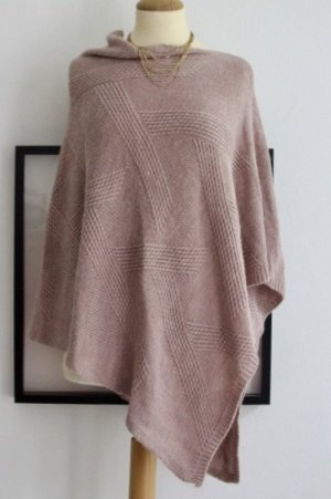 Knitted Poncho dusky pink mixture fibre