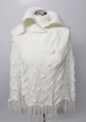 Yessica Knitted Poncho natural white-oatmeal polyacrylic
