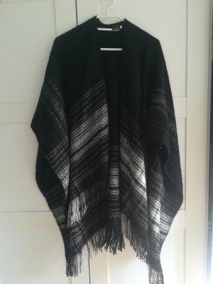 Poncho schwarz/grau OneSize