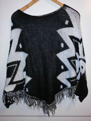Poncho schwarz weiß
