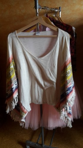 Poncho T-Shirt Fransen Hippi Strand