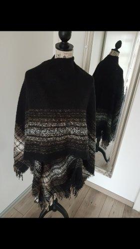 Gebreide sjaal zwart-bruin
