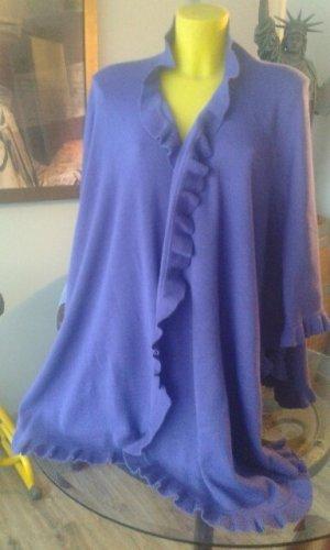 Poncho Violett Strick mit Rüschen seitlich