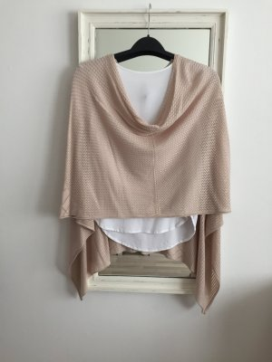 Comma Poncho en tricot rosé
