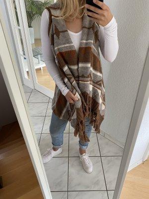 H&M Gilet long tricoté multicolore