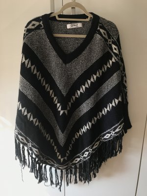 Only Knitted Poncho black-white